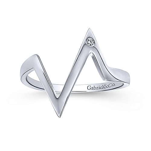 14k White Gold Contemporary Midi Ladies' Ring angle 4