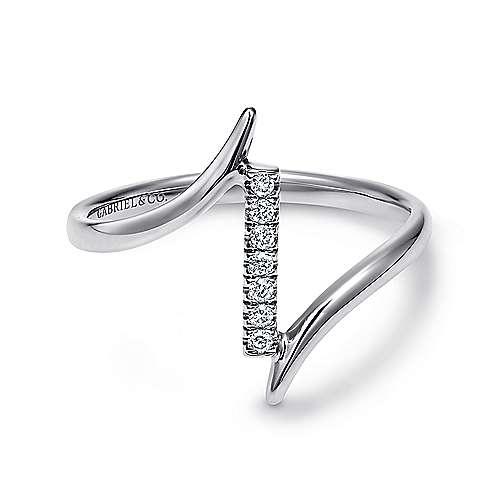 14k White Gold Contemporary Midi Ladies' Ring