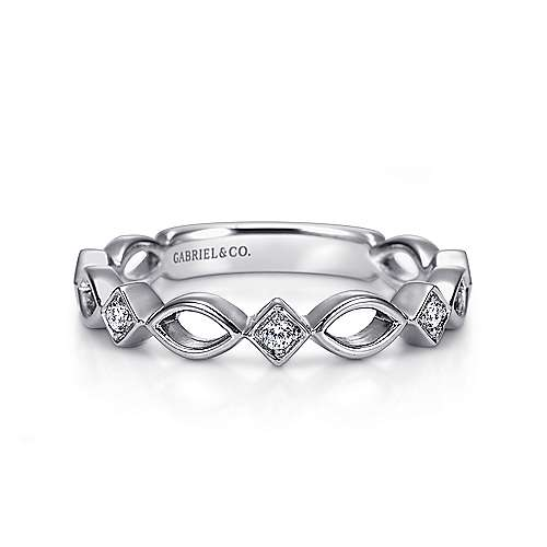 14k White Gold Contemporary Stackable Anniversary Band angle 1