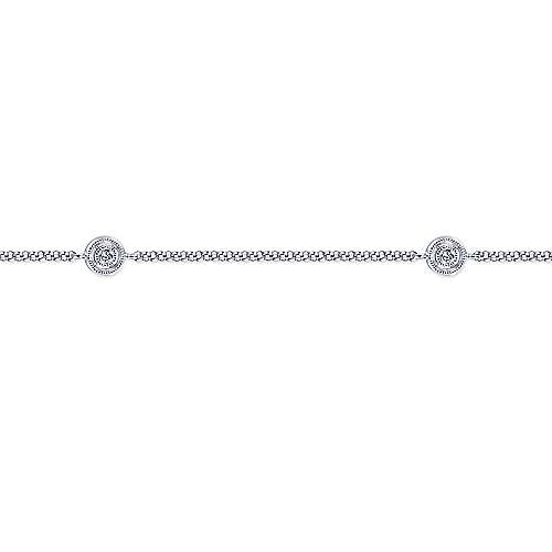 14k White Gold Contemporary Station Ankle Bracelet angle 2