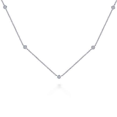 14k White Gold Contemporary Station Necklace angle 1