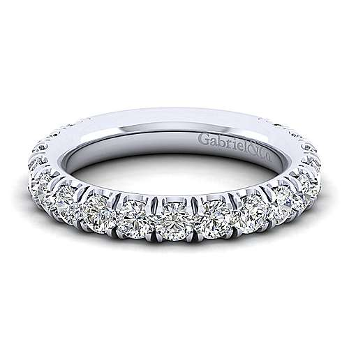 14k White Gold Contemporary Straight Anniversary Band angle 1