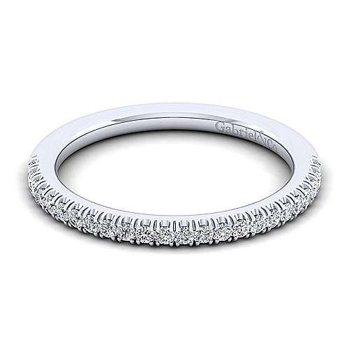 Gabriel - 14k White Gold Contemporary Straight Wedding Band