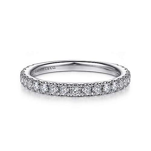14K White Gold Diamond Wedding Band | 14k White Gold Contemporary Straight Wedding Band Wb14649p4w44jj