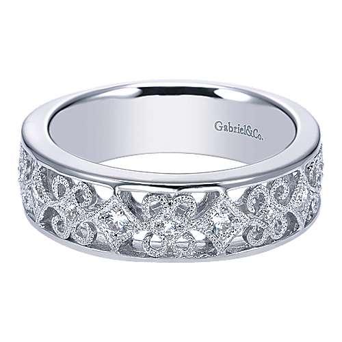 Gabriel - 14k White Gold Contemporary Straight Wedding Band