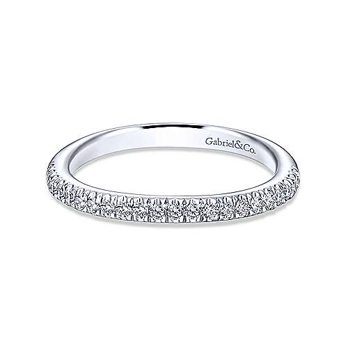 14k White Gold Contemporary Straight Wedding Band angle 1