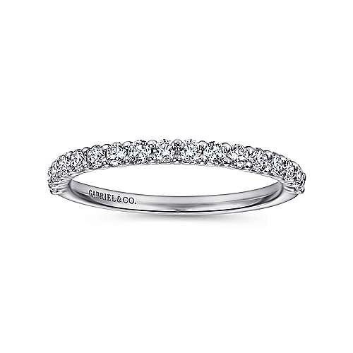14k White Gold Contemporary Straight Wedding Band angle 5