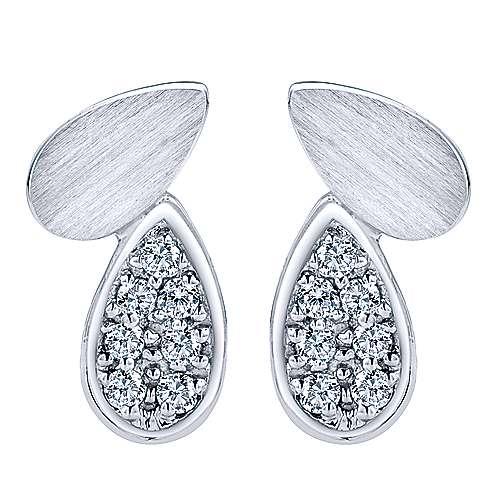 Gabriel - 14k White Gold Contemporary Stud Earrings