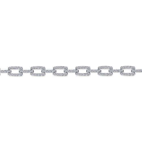 14k White Gold Contemporary Tennis Bracelet angle 2