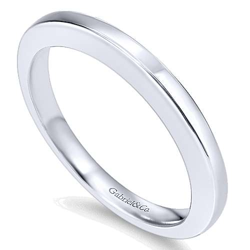 14k White Gold Contemporary Wedding Band angle 3