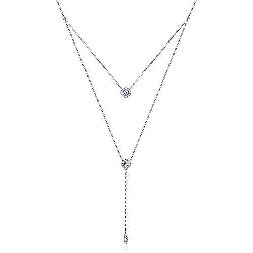 14k White Gold Contemporary Y Knots Necklace angle 1