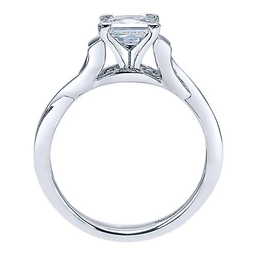 14k White Gold Criss Cross Engagement Ring angle 2