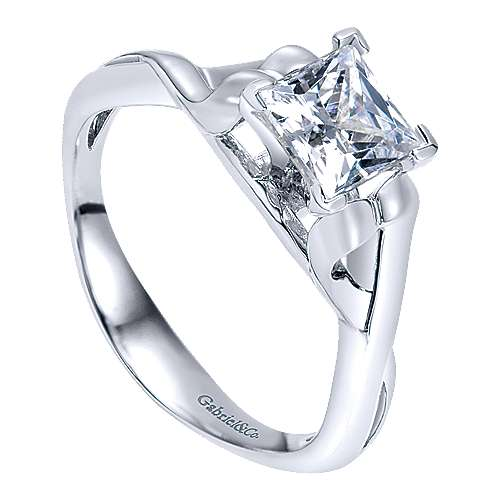 14k White Gold Criss Cross Engagement Ring angle 3