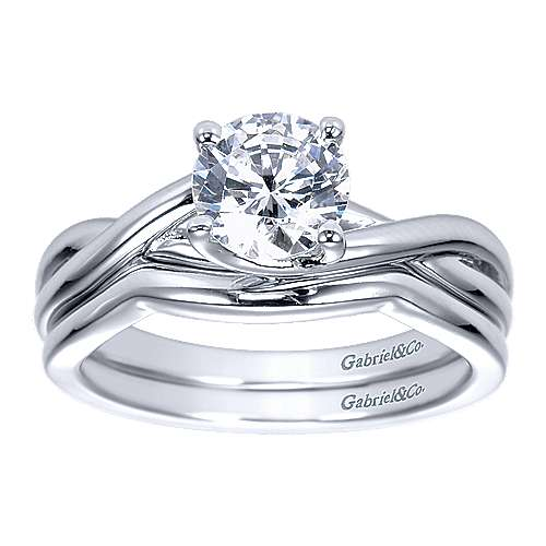 14k White Gold Criss Cross Engagement Ring angle 4