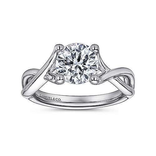 14k White Gold Criss Cross Engagement Ring angle 5