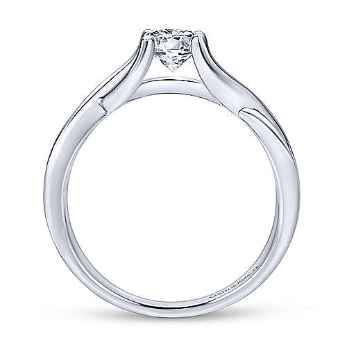 14k White Gold Criss Cross Engagement Ring angle 2