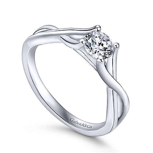 14k White Gold Criss Cross Engagement Ring angle 3