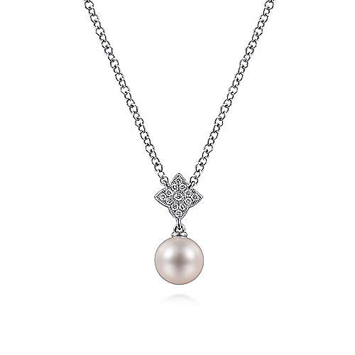 Gabriel - 14k White Gold Cultured Pearl & Floral Diamond Fashion Necklace