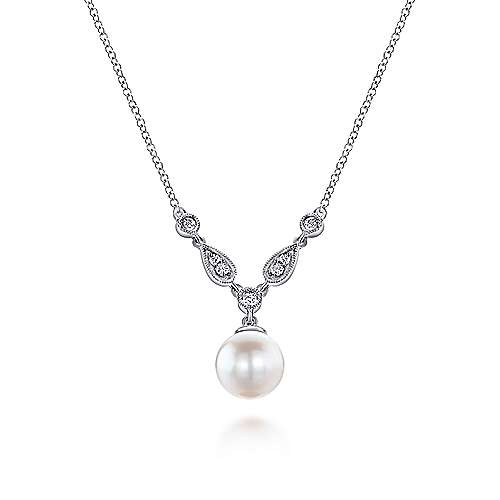 Gabriel - 14k White Gold Cultured Pearl Diamond Accent Fashion Necklace