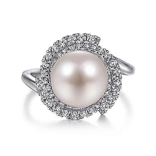 Gabriel - 14k White Gold Cultured Pearl Swirling Diamond Halo Ladies Fashion Ring