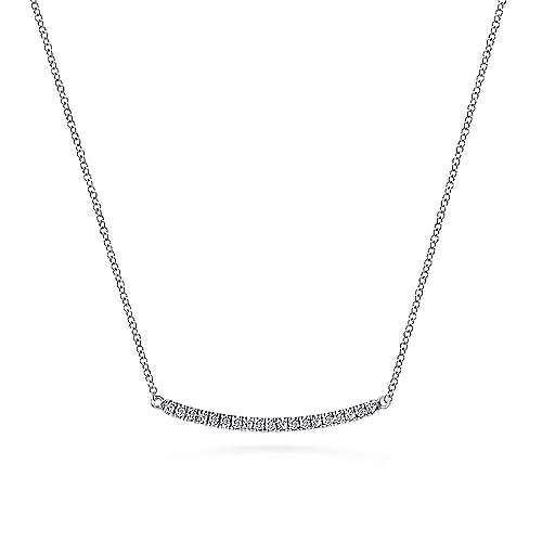 14k White Gold Curved Diamond Bar Fashion Necklace