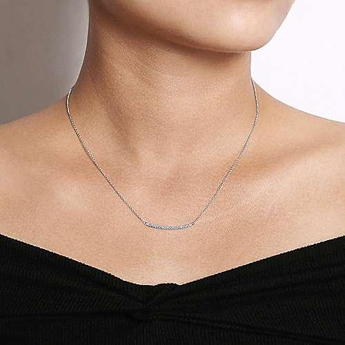14k White Gold Curved Diamond Bar Fashion Necklace