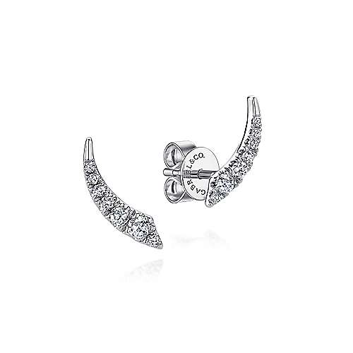 Gabriel - 14k White Gold Curved Diamond Bar Stud Earrings