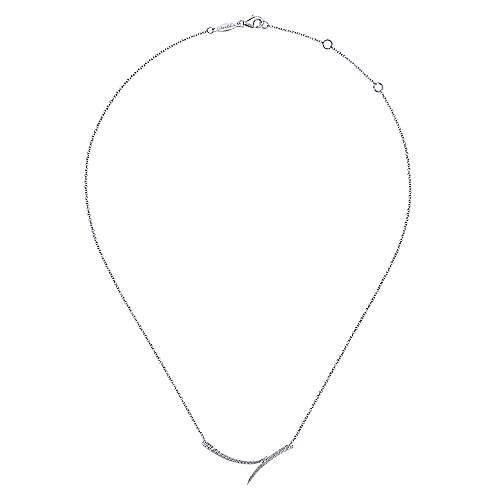 14k White Gold Curved Double Diamond Bar Necklace