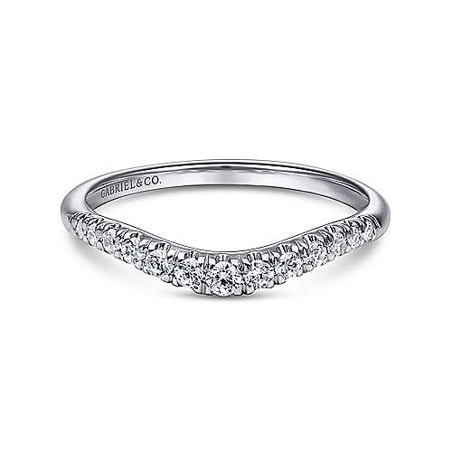 Gabriel - 14k White Gold Curved French Pavé Set Band