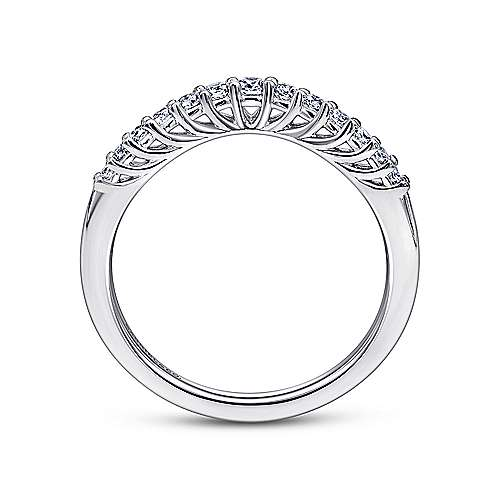 14k White Gold Curved Shared Prong Band
