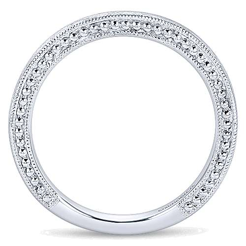 14k White Gold Curved Wedding Band angle 2