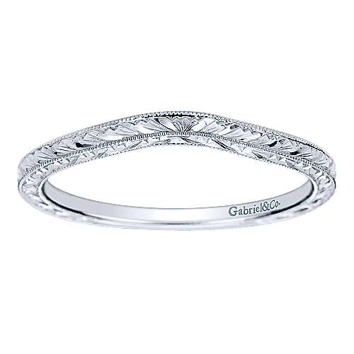14k White Gold Curved Wedding Band angle 5