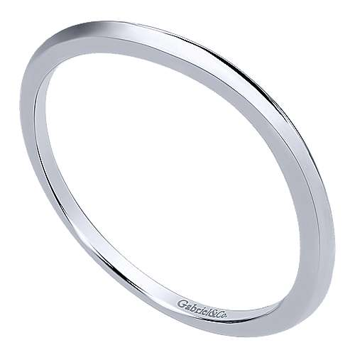 14k White Gold Curved Wedding Band angle 3