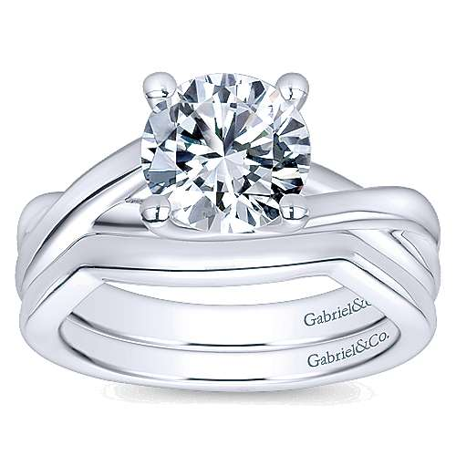 14k White Gold Curved Wedding Band angle 4