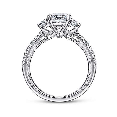 14k White Gold Cushion Cut 3 Stones Engagement Ring angle 2
