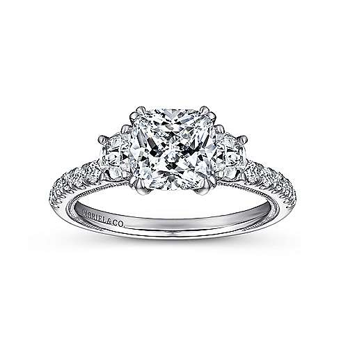14k White Gold Cushion Cut 3 Stones Engagement Ring angle 5