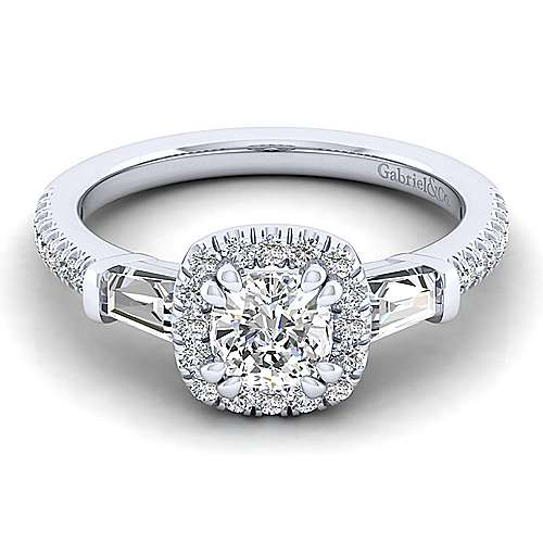 Gabriel - 14k White Gold Cushion Cut 3 Stones Halo Engagement Ring