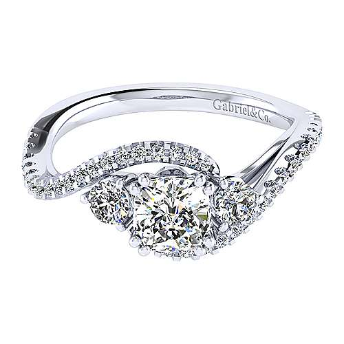 14k White Gold Cushion Cut Bypass Engagement Ring