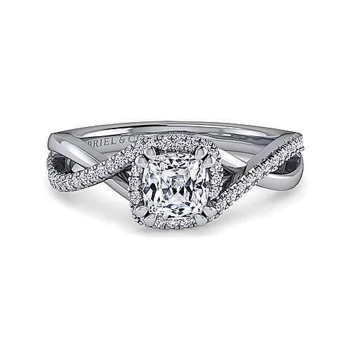 Gabriel - 14k White Gold Cushion Cut Criss Cross Engagement Ring