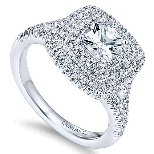 14k White Gold Cushion Cut Double Halo Engagement Ring angle 3