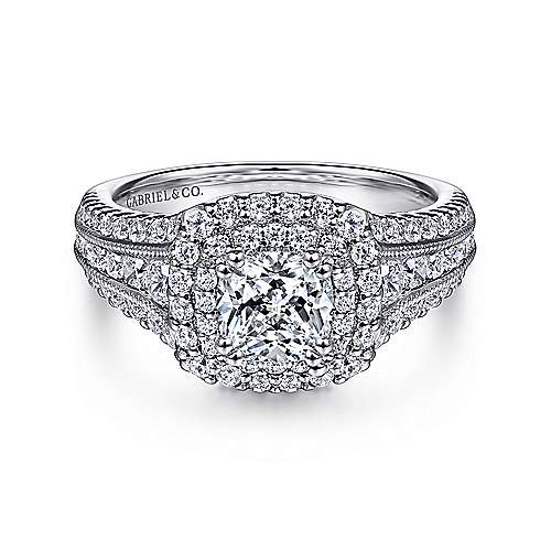 Gabriel - 14k White Gold Cushion Cut Double Halo Engagement Ring
