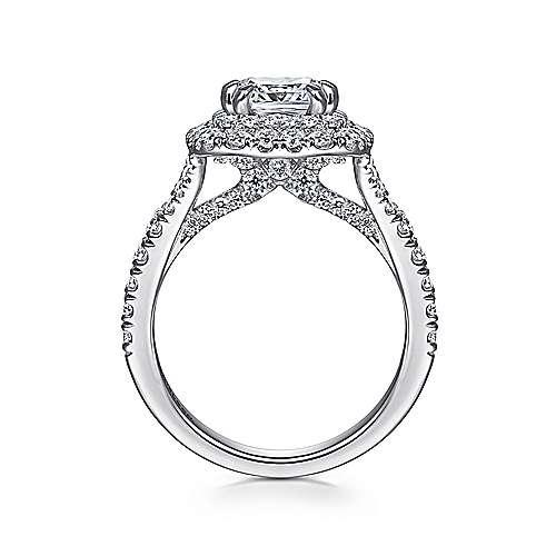 14k White Gold Cushion Cut Double Halo Engagement Ring angle 2