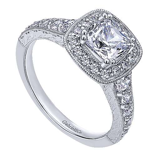 14k White Gold Cushion Cut Halo Engagement Ring