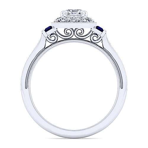 14k White Gold Cushion Cut Halo Engagement Ring angle 2