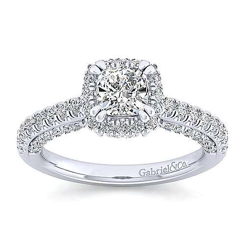 14k White Gold Cushion Cut Halo Engagement Ring angle 5