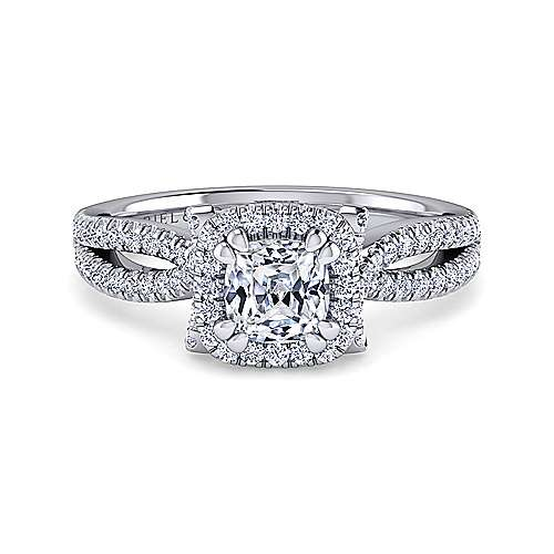 Gabriel - 14k White Gold Cushion Cut Halo Engagement Ring
