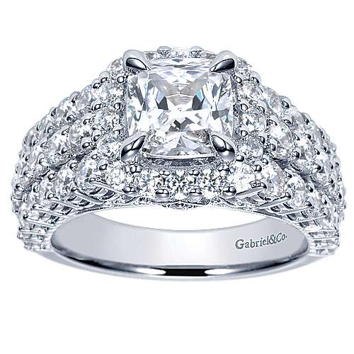 14k White Gold Cushion Cut Halo Engagement Ring angle 5