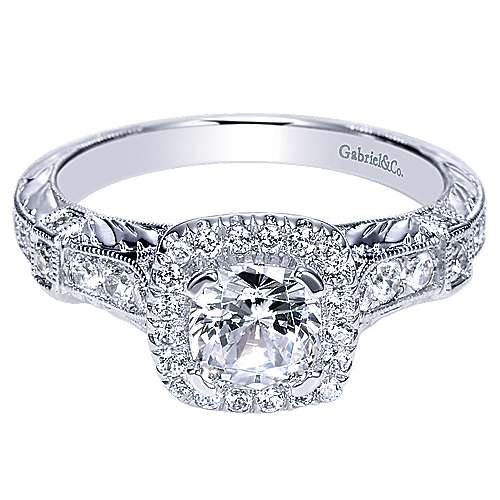 14k White Gold Cushion Cut Halo Engagement Ring angle 1