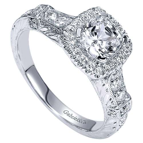 14k White Gold Cushion Cut Halo Engagement Ring