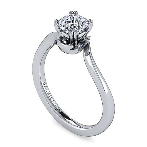 14k White Gold Cushion Cut Solitaire Engagement Ring angle 3